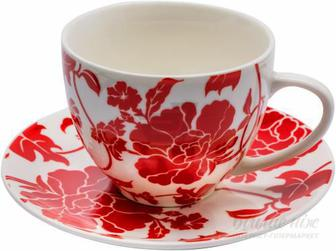 Чашка з блюдцем Red flower 300 мл