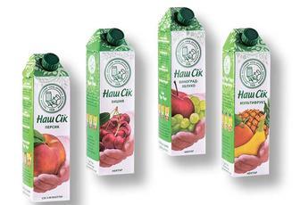 Сік/Нектар яблуко-морква, томат, персик, мультифрукт, виноград-яблуко, вишня, Наш Сік 0.95 л