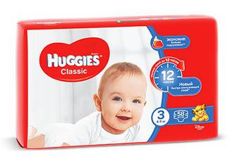 Підгузки Huggies Classic 42 шт/ 50 шт/ 58 шт