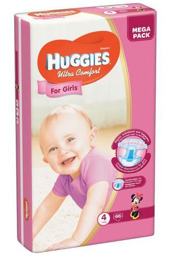 Подгузники Huggies Ultra Comfort для девочек р4 7-16 кг 66 шт