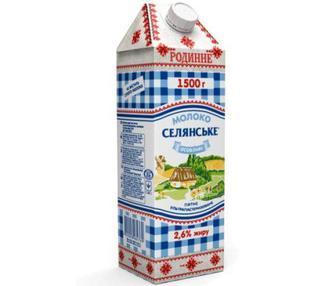 Скидка 20% ▷ Молоко ультрапастеризованное Селянське Родинне 2,5% 1.5л