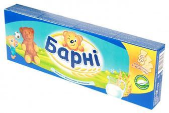 БІсквіт Барні з молочною/шоколадною начинкою 150г