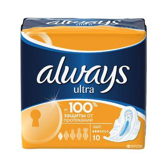 Женские гигиенические ароматизированные прокладки Always Ultra light 10 шт.