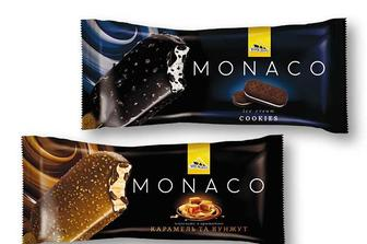 Морозиво Monaco Карамель-кунжут / Cookies ескімо, глазуроване Три Ведмеді - 80 г