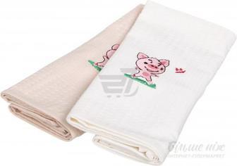 Набір рушників вафельних Свинки 2 45x60 см білий із бежевим