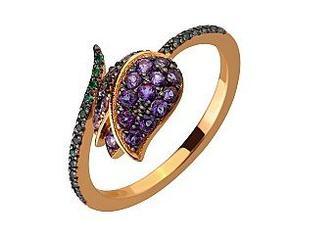 Золотое кольцо Тюльпан с топазами Артикул 15-000110035
