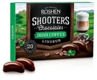 Цукерки Shooters Irish coffee Цукерки у чорному шоколаді з начинкою вершково-каковий лікер. Рошен