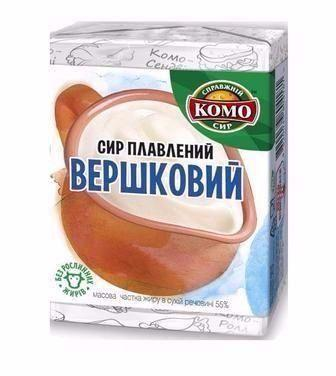 Сир плавлений Вершковий, Тартар, з нимкою 55% Комо 90г