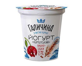 Йогурт «Галичина» «Карпатський» вишня-злаки, 2,5% жиру, 280г