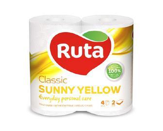 Папір туалетний Ruta Classic жовтий 4 рулони/уп