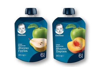 Скидка 15% ▷ Пюре яблуко і персик/груша «Gerber» - 90 г