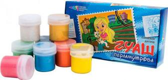 Фарби гуашеві Хобі перламутрові 8 кольорів по 20 мл 322070 Гамма