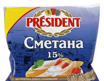 Сметана Президент 15% 350 г