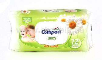 Серветки вологі Ultra COMPACT Baby з ромашкою 72 штуки в упаковці з клапаном