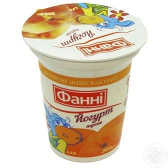 Скидка 27% ▷ Йогурт 1,5% Персик/Полуниця Фанні 280г