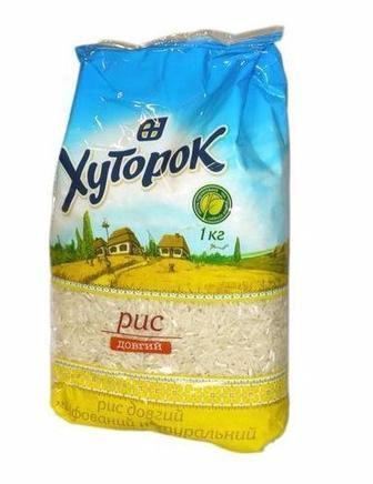 Рис довгий, круглий, пропарений Хуторок 800 г