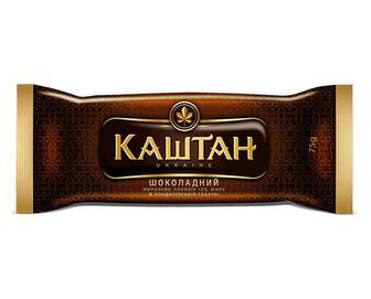 Морозиво «Каштан» шоколадний пломбір в кондитерській глазурі, 75г