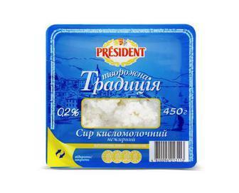 Сир к/м 0,2% Творожна Традиція President 450 г