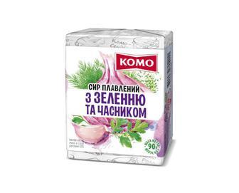 Сир плавлений «Комо» 55% жиру з зеленню та часником, 90г