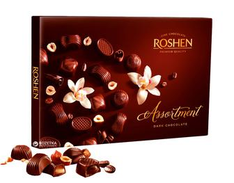 Скидка 15% ▷ Цукерки Assortment чорний шоколад, Рошен, 154 г