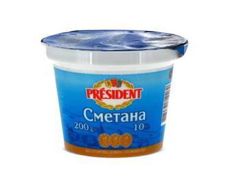Сметана 10% жиру President, 200г