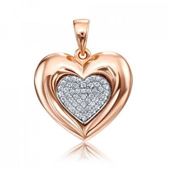 Золотая подвеска «Сердце» с фианитами Swarovski. Артикул 31884/01/1/1261