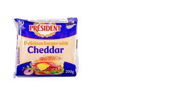 Сыр плавленый 40% Чеддер для бургеров, PRESIDENT, 200г