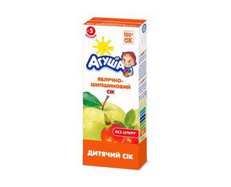 Сік «Агуша» без цукру яблучно-шипшиновий, 200 мл