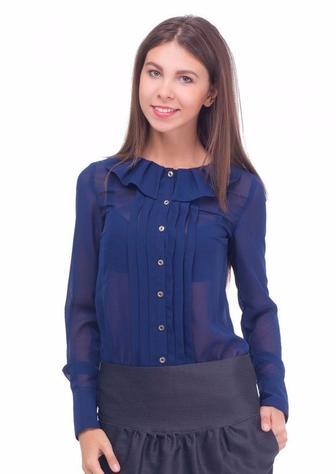 Блузка синяя с воротником в складку