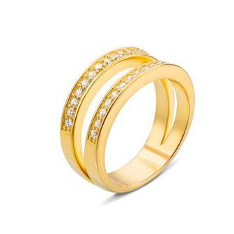 Серебряное кольцо с фианитами и позолотой. Артикул AZ01145/4пз