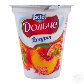 Йогурт дольче 3,2% полуниця, персик-маракуйя Лактель 280г