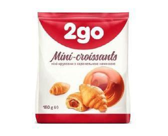 Круасани 2go з карамельною, шоколадною,апельсиновою начинкою міні 180г