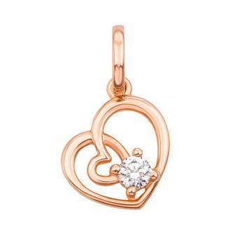 Золотая подвеска «Сердце» с фианитом Swarovski Zirconia. Артикул 3846/SW