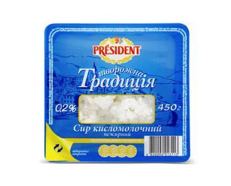 Скидка 26% ▷ Сир кисломолочний President «Творожна Традиція» 0,2% жиру, 450г