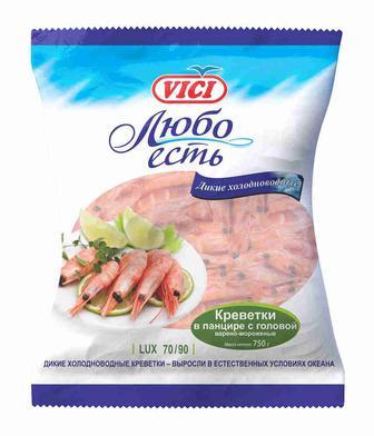 КРЕВЕТКИ варено - морожені 70/90, 500 г VICI