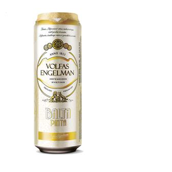 Пиво Volfas Engelman Balta Pinta світле нефільтроване, 0,568л ж/б, 500 мл