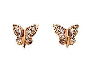 Золотые серьги Бабочки с бриллиантами