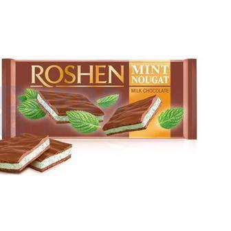 Шоколад молочний з м'ятною нугою 90г