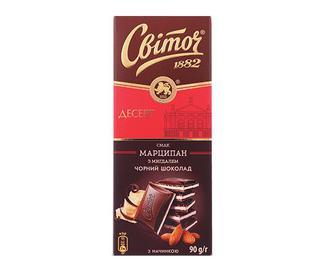 Шоколад чорний «Світоч» смак марципан з мигдалем, 90г