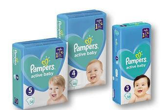 Підгузники Active Baby Midi 3/ Maxi 4/ Junior 5 «Pampers» - 38/46/54 шт